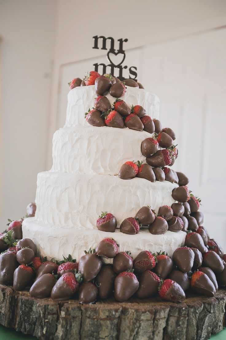 Cover the strawberries in colored white chocolate to match wedding colors.: