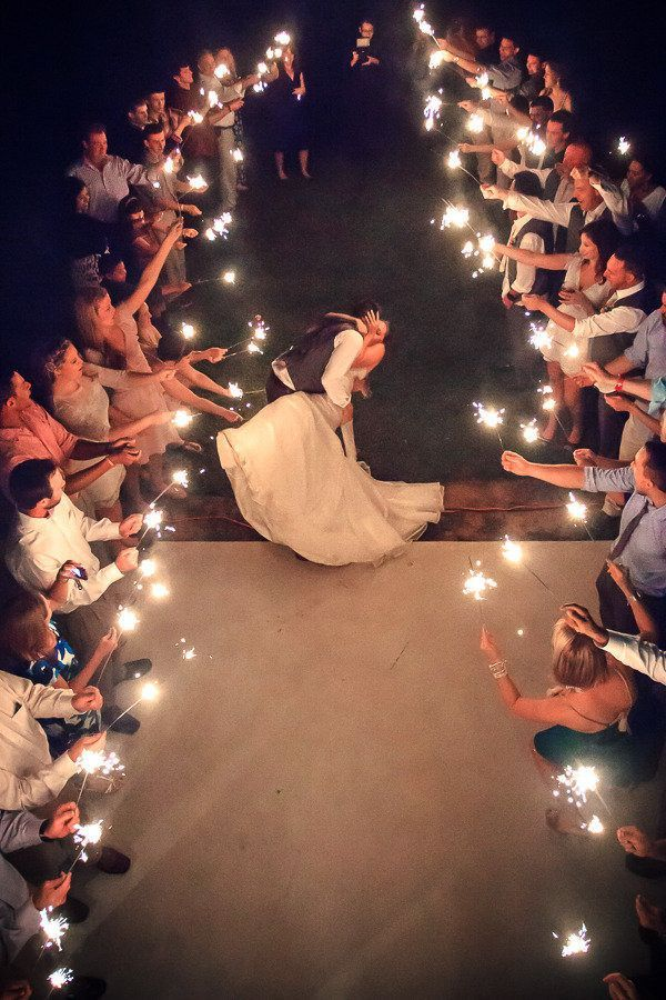 Break the confetti tradition and opt for sparklers that provide an eye-catching and theatrical exit. Source: style me pretty. #sparklers #weddingsendoff: